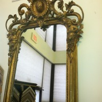 "Antique 22K Gilded ""Looking Glass"" Mirror"
