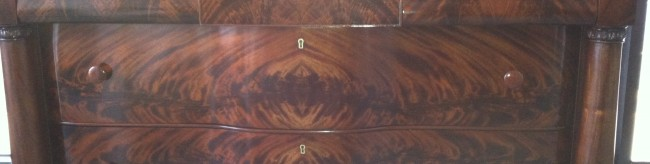 Pre-1905 Mahogany Chest with Beveled Mirror, Flame Pattern on Drawers, Ribbon Pattern on Top and Sides, Shelbyville, IN